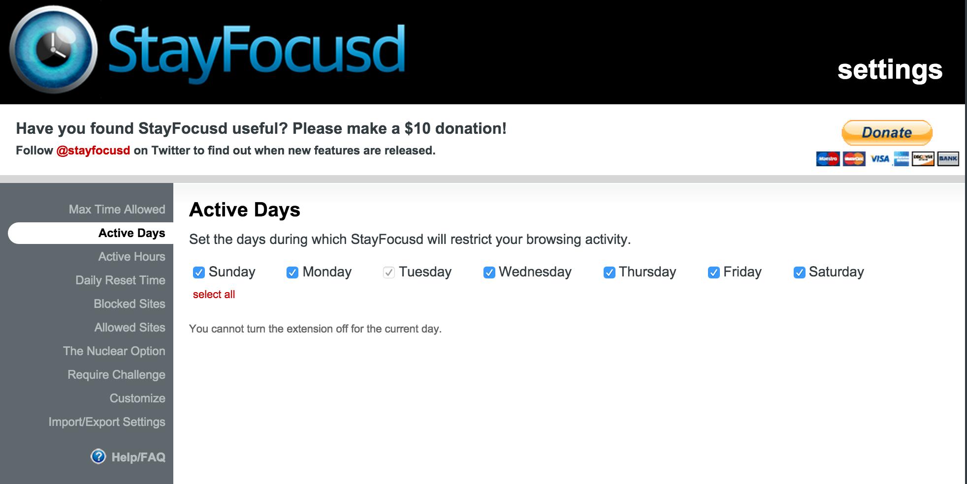 إضافة StayFocusd